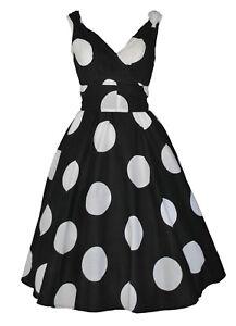 Vintage 50's Oversize Polka Dot Cotton Swing Dress BNWT UK Size 10