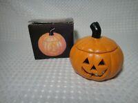 Vintage 1991 Halloween Pumpkin Jack O' Lantern Ceramic Tea Light Candle Holder