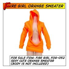 FIRE GIRL Hot Sexy Cute Orange Sweater for 1/6 12 in scale Phicen Female Toys