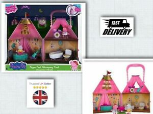 NEW Peppa Pig Peppa Fest Glamping Tent Playset + Lights & 2 Action Figures Set