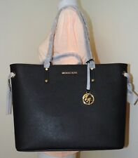 Michael Kors Jet Set Travel Large Leather Drawstring Tote With Pouch In Black