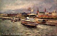 Mainz Rheinland Pfalz~1910 Künstlerkarte Blick auf Rheinquai Hafen Rhein Schiffe