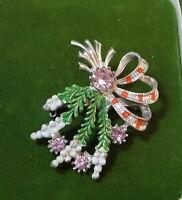 Vintage British EXQUISITE Scottish Lavender Heather Glass Rhinestone Brooch Pin