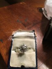 Antique Vintage 14k White Gold Diamond Cluster Ring Cocktail Estate Find Good