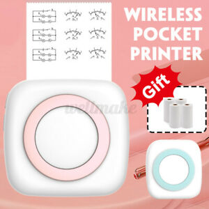 1Pcs Mini Portable Thermal Printer Pocket Photo Printer Printing w/4 Rolls Paper