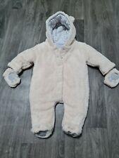 Immaculate Jojo Maman Bebe Unisex Cream Bear Snowsuit Pramsuit 0-3 Months