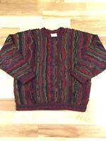 90's VINTAGE COOGIE SWEATER BIGGIE HIP HOP RETRO Multicolor 3D Knit XL Vaporwave