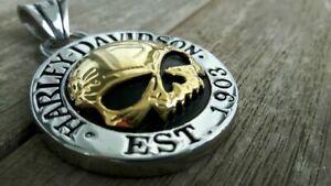 Harley Davidson Biker Anhänger Skull Halskette Kette Schmuck NEU Silbern / Gold