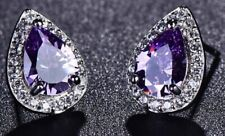 Purple Zircon Simulated Crystal Earrings Stud Tear Drop Teardrop Pierced E167 UK