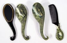 Hand Painted Art Hair Brush Mirror Comb Alligator Crocodile (Set of 3) CB22A