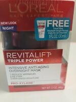 L'Oreal Revitalift Triple Power Intensive Overnight, 1.7oz. + Free Scrub NIB
