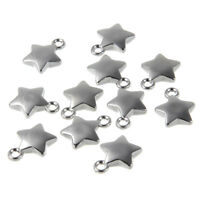 50Pcs 13*17mm Silver CCB Star Beads Pendants Charms DIY Bracelet Jewelry Making