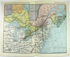 Original 1898 Railroad Map of Eastern Canada - Ontario, Quebec & The Maritimes