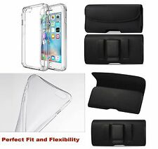 SOFT TPU Clear  Bumper CASE COVER FOR  IPHONE 6/6S + BELT CLIP LEATHER