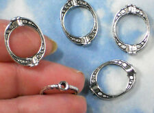 SALE BuLK 50 Bead Frames Oval Silver Tone Use for Earrings Necklaces #P608 -50