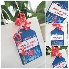 5 X THE POWER RANGERS INSPIRED PERSONALISED party bag labels party bag tags