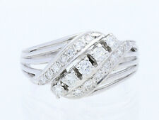 Vintage anillo 0,50 quilates brillante diamantes 750 blanco oro 18 quilates para 1970