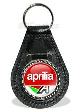 Real Leather Aprilia Emblem Motorcycle Keyring (RS, RSV, RSV4) Biker Gift Idea.