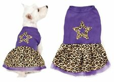 Small/Med Purple Leopard Print Spring Dog Dress Star Design Skirt - CLOSEOUT