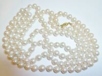 "Stunning High End Vintage 48"" Strand White Glass Pearls Sterling Filigree Clasp"