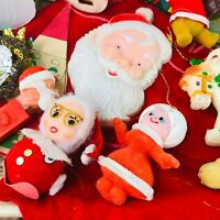 Vtg Christmas junk drawer collection ornaments santas reflectors japan 50s 60s