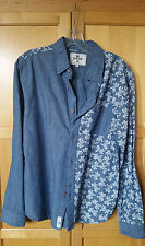 Bellfield Womens Button Down Dark Denim Floral Shirt Size M Wooden Buttons  EUC