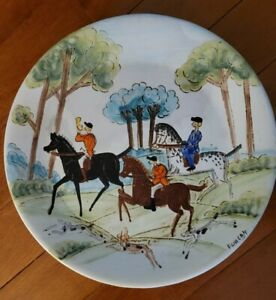 """Vintage Italy Hot Plate Wall Art Fox Hunting Artist Signed 12"""""""