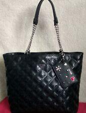 GUESS Womens Shopping Shoulder Bag HandBag Tote Satchel Large Black Quilted New