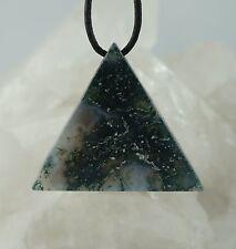 Colgante ágata de moho TRIANGULO colgante de piedras preciosas perforadas A12