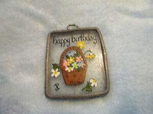 "Happy Birthday Sun Catcher Small with Flower Basket 1 1/2"" x 1 3/4"", Vintage"