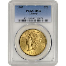 1907 US Gold $20 Liberty Head Double Eagle - PCGS MS62