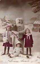 BL256 Carte Photo vintage card RPPC Enfant fantaisie Bonhomme de neige hiver