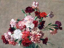 Carnations without Vase Tile Mural Kitchen Bathroom Wall Backsplash Art 24x18