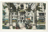 San Diego, CA Electric Fountain Vintage Postcard in Plaza Park US Grant Hotel