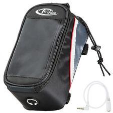 Bolsa funda frontal bicicleta manillar bolso bici móvil smartphone L negro-rojo