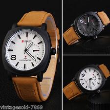 New Fashion Curren Branded Wristwatch Leather Strap Military wrist Watch - WHITE