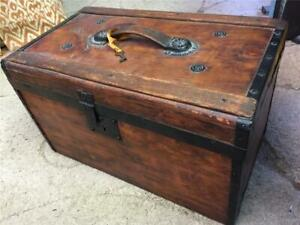 """Beautifully Restored Antique Chest Trunk w/key - size 19"""" long x 11"""" wide x 12""""H"""