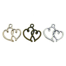 9pcs Alloy Mixed Assorted Double Love Heart Pendant Charms Jewelry Accessories