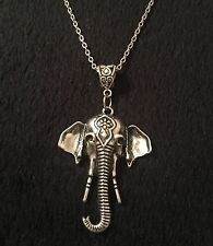 "Indian Elephant Necklace Bohiemian Bollywood Animal Pendant Silver 24"" Ganesh"
