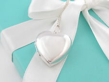 Auth Tiffany & Co Silver Heart Large Locket Necklace 18 Inch Chain