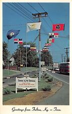 Fulton Kentucky Tennessee~Avenue of Americas~Banana Festival Flags~1970s PC