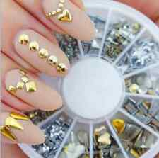 120Pcs Gold Silver Metal Nail Art Tips Metallic Studs Stickers ONE WHEEL HS