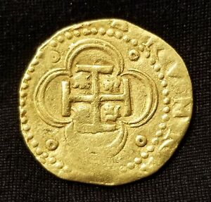 RARE PHILIP II (1556 - 1598) SEVILLE GOLD SPANISH 4 ESCUDOS DOUBLOON COB