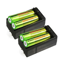 4X 3.7v 18650 Li-ion Rechargeable Battery For LED Torch +Smart Dual Charger WT