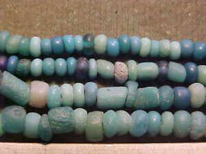 SPECIAL OFFER String rare  Roman blue coloured glass beads cir 100-400 A.D.