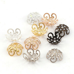 100pcs 8/10mm Hollow Flower End Spacer Metal Bead Caps For DIY Jewelry Finding