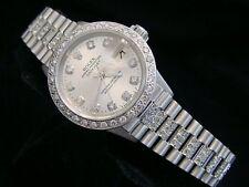 Ladies Rolex твердое 18K белое золото Datejust президента бриллиантовый циферблат, ободок и лента