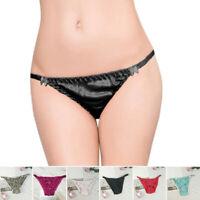 Bikini Womens Panties Solid Smooth Women Underpants Ladies S-2XL Bow Thong Satin