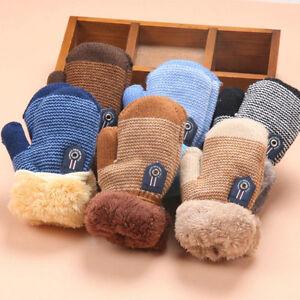 Winter Warm Thicken Baby Boy Girls Kids Fur Ski Gloves Neck String Mittens Sale