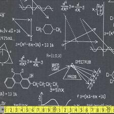 Robert Kaufman Fabric Science Fair Calculations Grey PER METRE Chemistry Science